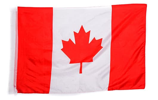 Picture of Canadian flag in red and white